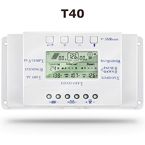 SolaMr 40A Solarladeregler 12V/24V Automatische Erkennung der Spannung Solarpanel-Intelligenzregler mit LCD Display und USB-Anschluss - T40