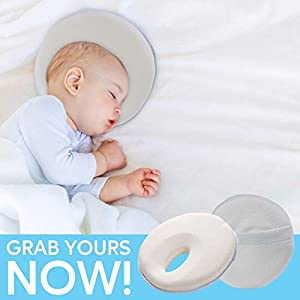 Newborn Baby Pillow for Flat Head Syndrome Prevention, Flat Head Baby Pillow Soft Breathable Memory Foam Cushion Head Shaping Pillow Neck Support with Bamboo Pillowcase for Infant up to 4 Months