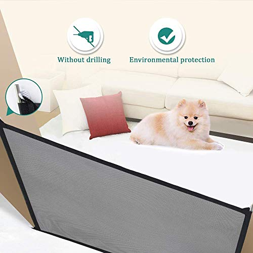 AYUQI Dog Gate Indoor for Doors Folding Safe Guard for Pet Gate Tall Extra Wide, Pet Isolation Fence Net Black 43.3X28.3 inches for Small Dogs