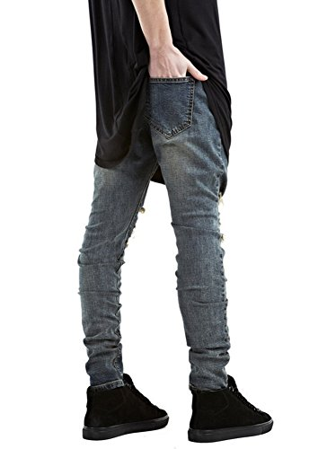 Fit Jeans Pantaloni Slim Estate Distrutto Denim Blu Mode Pants Casual Uomo pUqwUERrX