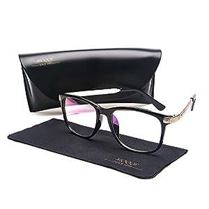 Eyewear Frames Eyeglasses Optical Frame Wayfarer Classic Clear Lens Glasses For Women&Men(C1)