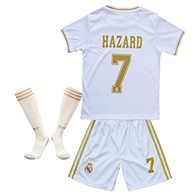 #7 Hazard Jersey Real Madrid Home Kids/Youth 2019-2020 Socce Jersey Matching Shorts,Socks White