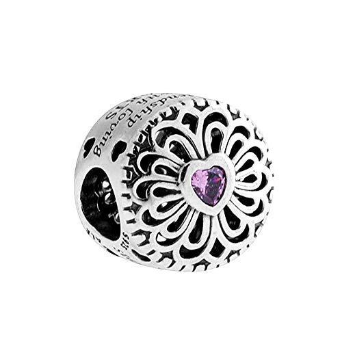 Romántico Amor Love&Friendship Charm S925 Openwork Bead fit Pandora Bracelets (Best Friend Pandora Bead)