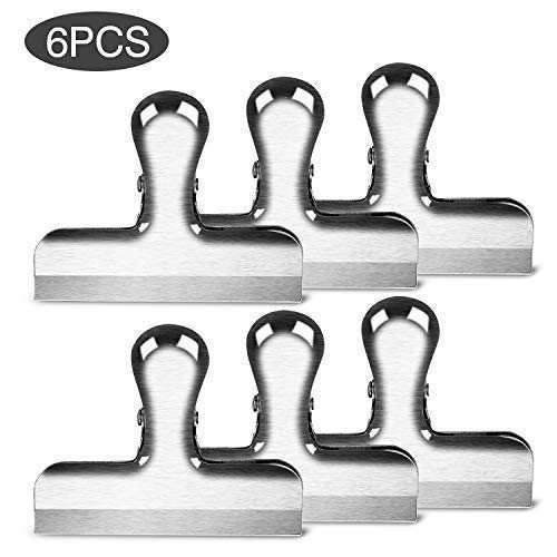 Chip Clips 3 Inches Wide Premium Heavy Duty Thicker Steel Food Bag Clips | All Purpose Air Tight Seal Good Grip on Coffee, Bread & Tea Bag, Kitchen, Home, School and Office Usage (6 PCS/Set)