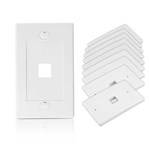 Cable Matters UL Listed 10-Pack 1 Port Keystone Wall Plate (Cat6, Cat5e Ethernet Wall Plate) in -