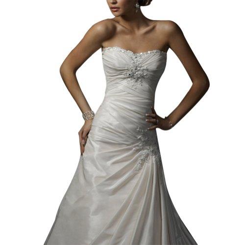 Elegante Prinzessin Brautkleider Elfenbein Kapelle Liebsten Perlen GEORGE Zug Taft Hochzeitskleider BRIDE 0qw8v5U