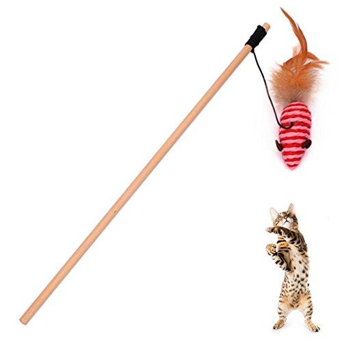 Shineweb Cat Kitten Teaser Play Wand Wood Rod Interactive Fun Pet Toy Gift ()