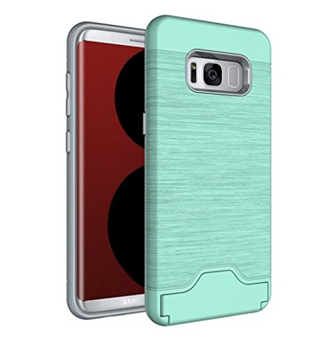 Price comparison product image Galaxy S7 Edge Card Holder Case, Inspirationc Shockproof Anti-scratch Hard Shell Carrying Case Cover for Samsung Galaxy S7 Edge with KickStand--Green