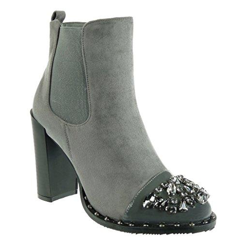 Angkorly Women's Fashion Shoes Ankle Boots - Booty - Chelsea Boots - Cavalier - Biker - Jewelry - Rhinestone - Studded Block High Heel 10 CM Grey 4R1woAud4