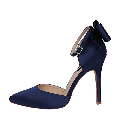High ERIJUNOR Wedding Bow Satin Evening Ankle Dance Party Heel Strap Women Shoes Navy 5rwqrgZ