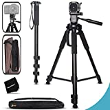 Durable Pro Grade 75 inch Tripod + 72 inch Pro Monopod W/ Convenient Backpack style Carrying Case for Canon EOS 70D 60D 7D 6D 5D 7D Mark II EOS Rebel T6i T6S T5i T5 T4i T3i T3 T2i SL1 750D 700D 650D 600D 550D 1200D 1100D 100D EOS M3 M2 T1i XTi XT SL1 XSi