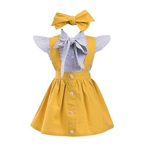 9348a6f51 PAOLIAN Conjuntos para Niñas Blusas + Falda de tirantes + Diadema de  Impresion Lunares de para bebés Niñas Verano Manga Corta de 12 Meses 24  Meses 3 años 4 ...