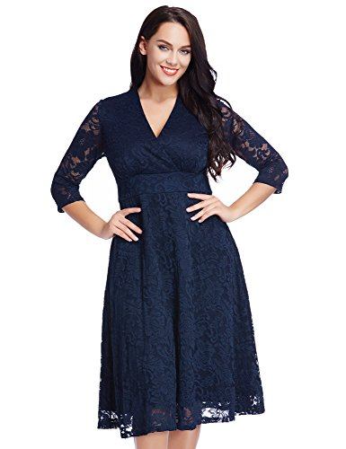 Women's Lace Plus Size Mother of the Bride Skater Dress Bridal Wedding Party Navy 18W