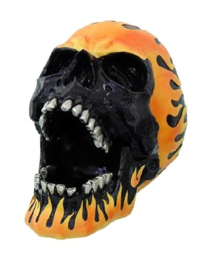 Flame Hot Rod Skull Ashtray Statue Halloween - Ashtrays Collectible