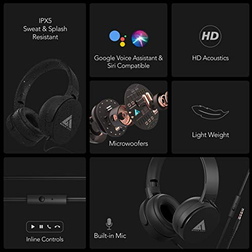 Boult Audio Bass Buds Q2 Over-Ear Wired Lightweight Stereo Headphones, Deep Bass & in-Built Mic, Headset with Comfortable Ear Cushions, Long Cord (Black)