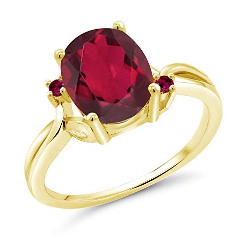 Gem Stone King 2.73 Ct Oval Red Mystic Quartz Red Created Ruby 14K Yellow Gold Ring Available 5,6,7,8,9