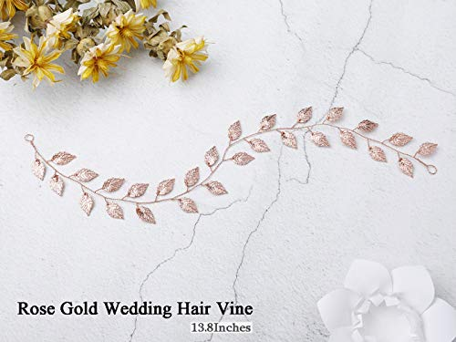 Artio Wedding Hair Vine Accessory Leaf Bridal Headpiece for Bride and Bridesmaids (Rose gold)