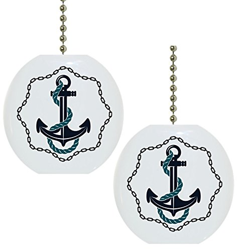 Set of 2 Anchor with Chain Border Nautical Solid Ceramic Fan Pulls by Carolina Hardware and Decor