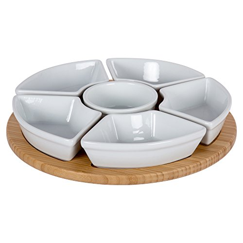 Ceramic Lazy Susan - CTG, Gourmet Condiment and Dip Serving Set, 14 inches, White