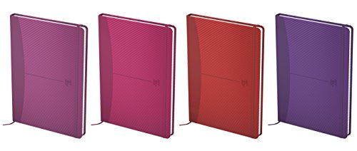 Oxford 400045810 Oxford Signature Notebook A6 Portrait Notebook, 5 Pcs Colored Sorted Hard Protective Cover, Lined, 72 X Sheet 90 G/Mâ² Optics Paper 4 Colors Sorted: Pink, Fuschia, Purple, Red - Portraits Oxford