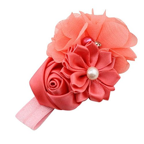 Bigban Fashion Baby Girl Flower Pearl Flower Hair Band Headband Hairband Hair Accessories (Watermelon Red)