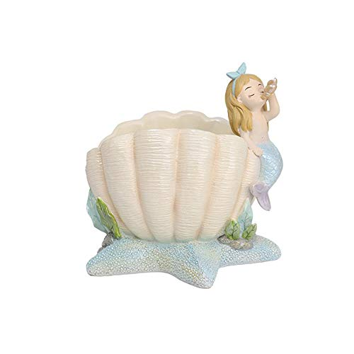 AOLVO Mermaid Resin Decorations 2 in 1 Scallop Succulent Cactus Pot & Jewelry Candy Storage Holder,Mediterranean Style Planter/Vase/Container for Home Office Aquarium-w/Drainage Hole