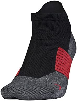 Adult Armourgrip No Show Socks with Tab, 1 Pair, Black/red, Medium