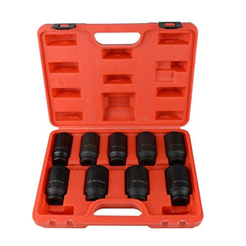 1/2' Metric Deep Impact Socket - Redgiants 9pcs Deep Impact Socket Set, 1/2'' Drive Metric Standard Axle Hub Nut Socket 29-38mm Radius Corner Design With Heavy Duty Storage Case