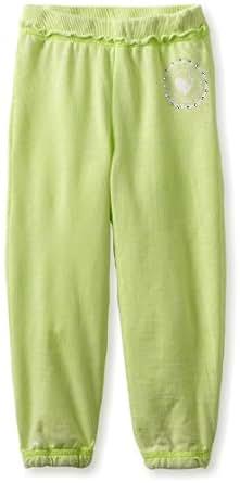 Southpole - Kids Little Girls' light weight soft knit elastic waist fashion sweat pant, Acid Green, Small