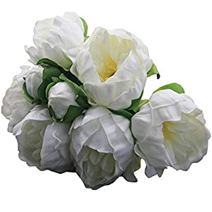 "DES 14"" Real Touch Latex Peonies Milky White Artificial Faux Peony Bouquet Flowers for Home Decorations, Wedding Bouquets, and centerpieces (12 PCS and 4 Buds) (Milky White) 27"