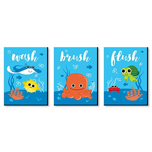 "Under The Sea Critters - Kids Bathroom Rules Wall Art - 7.5"" x 10"" - Set of 3 Signs - Wash, Brush, Flush"