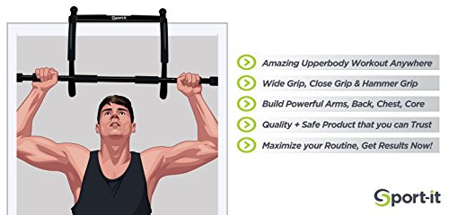 Top Quality Pull Up Bar with BONUS Jump Rope + Workout Guide, Sport it Fitness Portable Chin Up Bar. Strong, Reliable, Heavy Duty Steel Construction, Easy Assembly. Your Doorway is an Upper Body Gym.