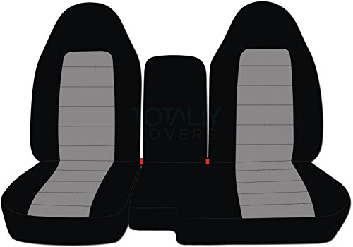 (2004-2012 Ford Ranger/Mazda B-Series Two-Tone Truck Seat Covers (60/40 Split Bench) with Center Console/Armrest Cover: Black & Gray (21 Colors) 2005 2006 2007 2008 2009 2010)