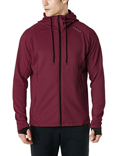 Winter Training Jacket (TM-MKJ03-MAR_Small Tesla Men's Performance Active Training Full-Zip Hoodie Jacket MKJ03)