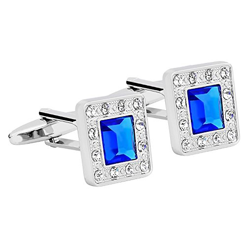 (Zodaca Vintage Mens Silver Square Jewels with Blue Rhinestone Quality Crystal Cufflinks Wedding Party Novelty Shirt Cuff Links)