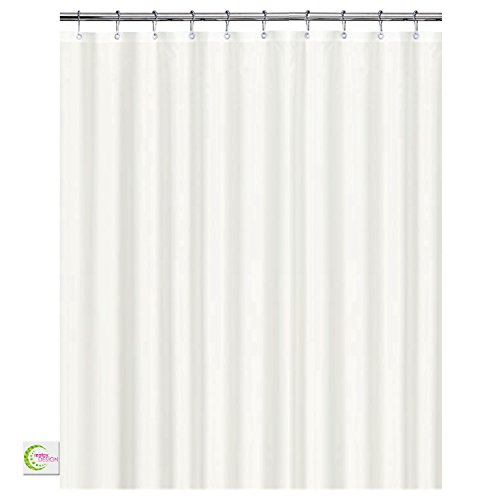 CREATOV DESIGN Shower Curtain Liner Mildew Resistant- 72x72 White Peva Fabric Shower Curtain for Bathroom - Waterproof Water Resistant Odorless Eco Friendly - Heavy Duty Rust Proof Metal Grommets