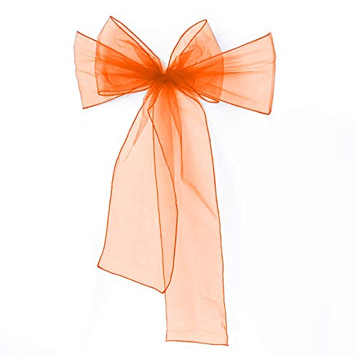 Meijuner 25pcs Chair Sashes Organza Sashes Chair Bow for Wedding Party Birthday Chair Decoration 25 Colors Available (Orange) ()
