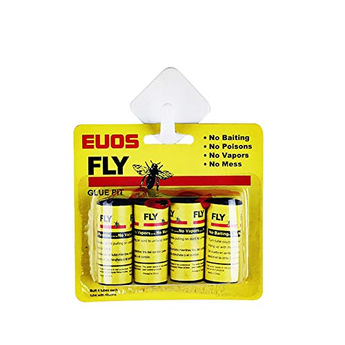 Ashero Sticky Fly Ribbons, Fly Hanging Glue Catcher Trap Fly Paper Strips, Tape Sticky Flies Rolls - 4 Pack