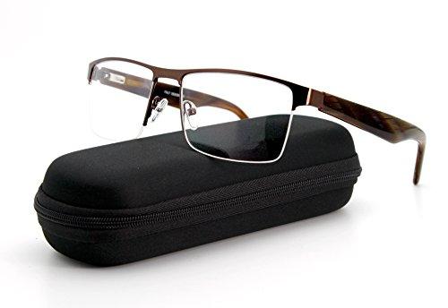 Aviator Half Rim Metal Frame Men Rectangle Optical Eyeglasses Clear - Rimless Eyeglasses Aviator