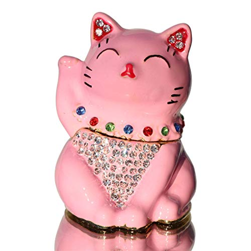 Cat Trinket Bejeweled Box - Waltz&F Pink Lucky Cat Figurine Collectible Animal Hinged Trinket Box Bejeweled Hand-Painted Ring Holder