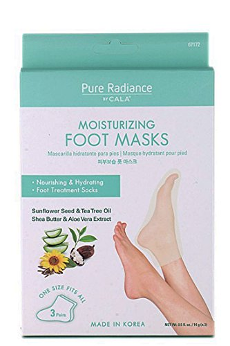 - Pure Radiance by Cala Moisturizing Pedicure Foot Masks [Pack of 3 Foot Moisturizing Socks] Contains Natural Ingredients  (Shea Butter & Aloe Vera Extract)