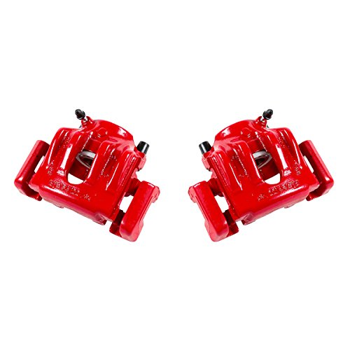 CK00488 [ 2 ] FRONT Performance Grade Red Powder Coated Semi-Loaded Caliper Assembly Pair Set ()