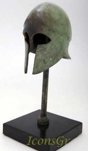 Helmet Museum Replicas (Ancient Greek Bronze Museum Replica of Corinthian Helmet on a Base 1378-1)