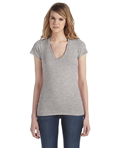 Alternative Womens Short-Sleeve V-Neck (AA4032)- HEATHER GREY,XL