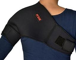 Universal Shoulder Support (L) - Neoprene with adjustable Strap - Left or Right - Black