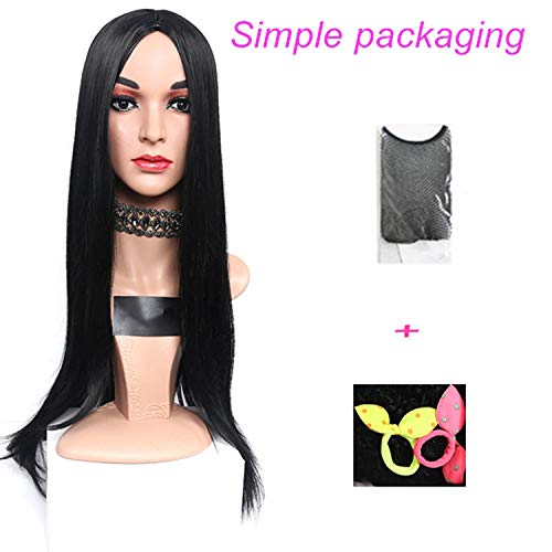 Long Straight Pink Heat Resistant Synthetic Two Tone Wigs For Women 30 inch Black Brown Blue hairpiece 7 colors,1-JY,30inches ()