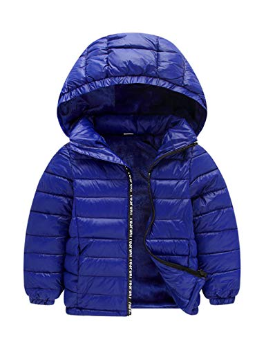 Blue Kids Girl Windproof Dark Hooded Boy Hooded Coat BESBOMIG Lightweight with Cotton Jacket Overcoat Detachable BnHUxw6f