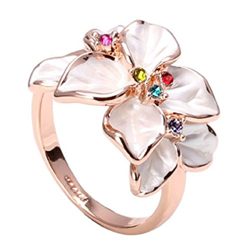 FAIRY COUPLE Women's Multi Colored Cubic Zirconia White Enamel Flower Ring R79 Size 6