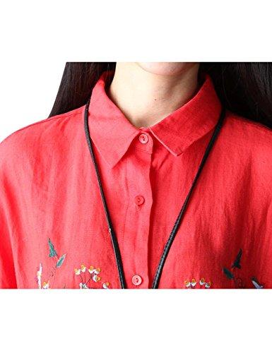 Polo Rojo Abajo Bordado Blusas Botón Youlee Mujeres Cuello Txw5AqBB0