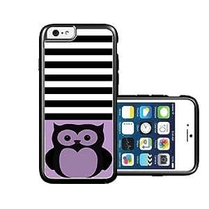 RCGrafix Brand Owl-Black Black Stripes & Violet black iPhone 6 Case - Fits NEW Apple iPhone 6